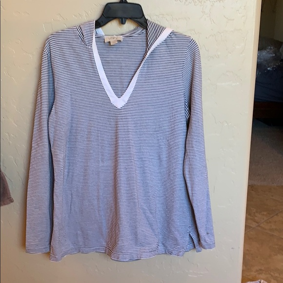 LOFT Tops - Cute lightweight navy/white striped hoodie. Size L